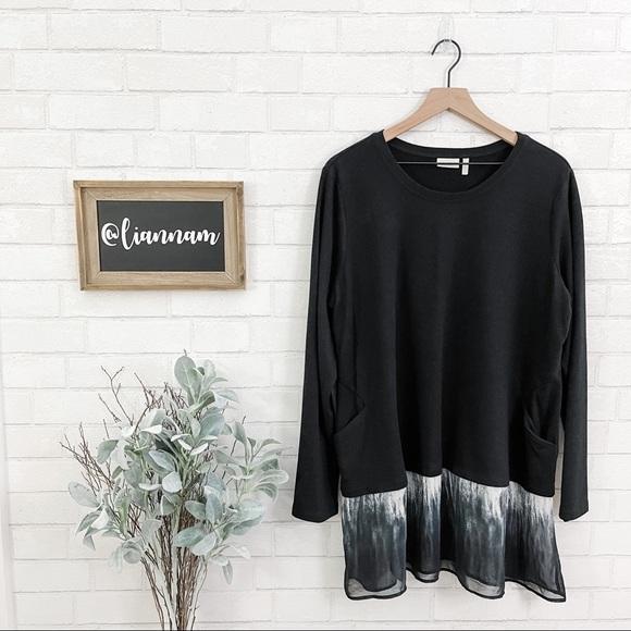 LOGO by Lori Goldstein Black Sweater Pocket Tunic